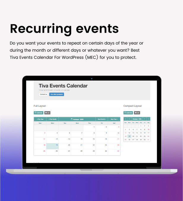 Tiva Events Calendar For WordPress - 14